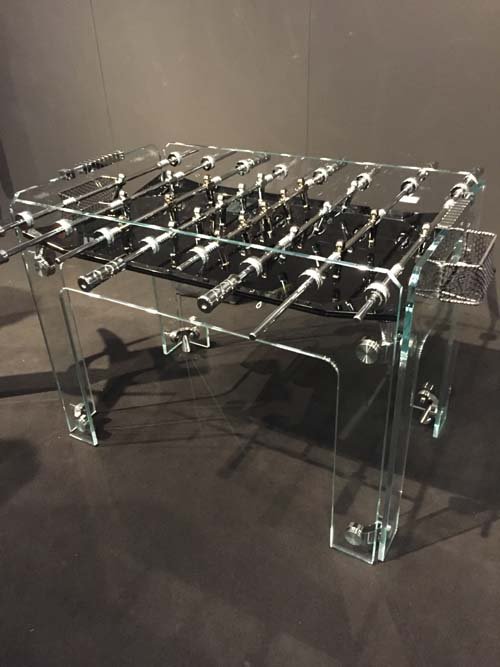 clear lucite foosball table