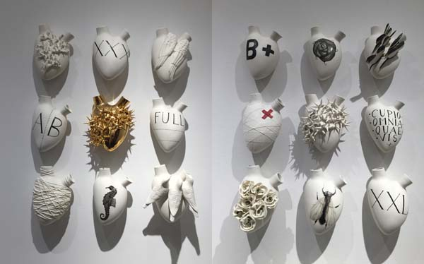 ceramic heart sculptures